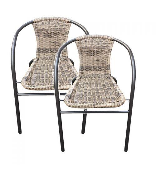 Zestaw dwóch krzeseł ogrodowych z technorattanu.
