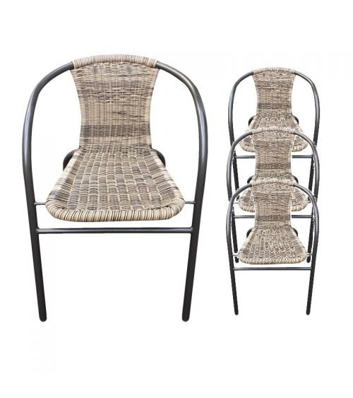Zestaw czterech krzeseł ogrodowych z technorattanu.