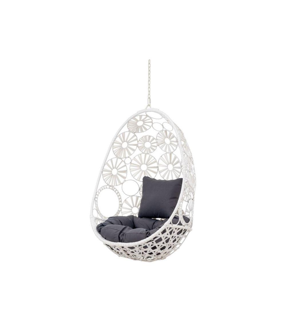 Biały fotel wiszący z szarymi poduszkami - meble ogrodowy i meble do pokoju