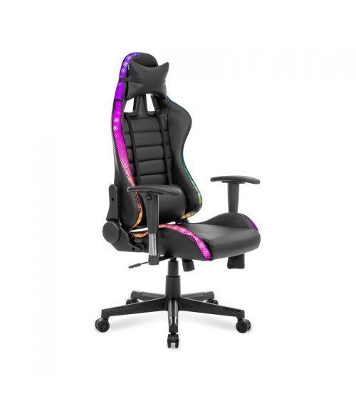 Fotel dla gracza z efektami świetlnymi.
