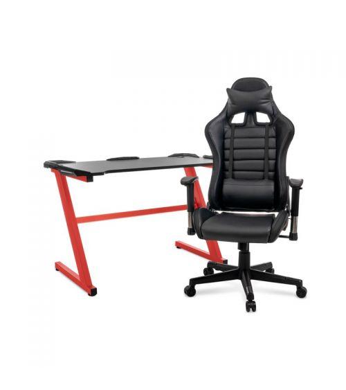 Zestaw gamingowy - biurko gamingowe i fotel gamingowy RGB.