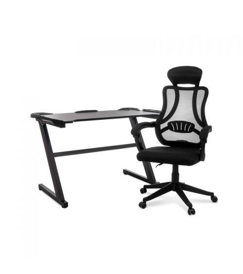 Zestaw gamingowy - fotel gamingowy i biurko gamingowe LED.
