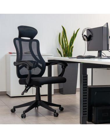 Fotel ergonomiczny z regulacja wysokości oparcia oraz opcją ustawienie kąta nachylenia oparcia.