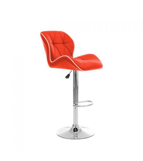 Wysokie krzesło barowe w kolorze czerwonym.