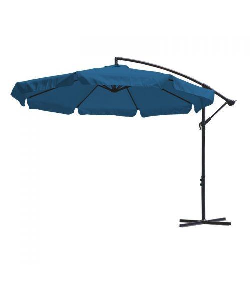 Duży parasol ogrodowy w kolorze niebieskim z podstawą krzyżową i wentylacją w czaszy.