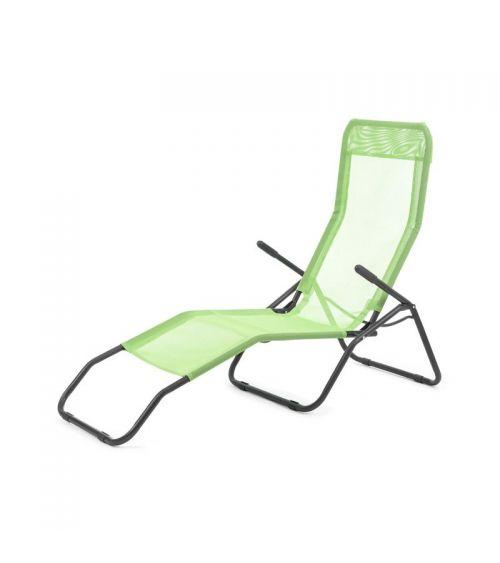 2-pozycyjny leżak ogrodowy w kolorze zielonym z podłokietnikami.