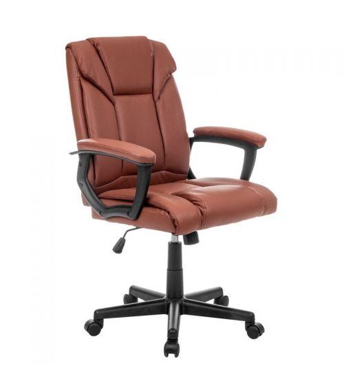 Skórzany fotel biurowy - brązowe krzesło obrotowe