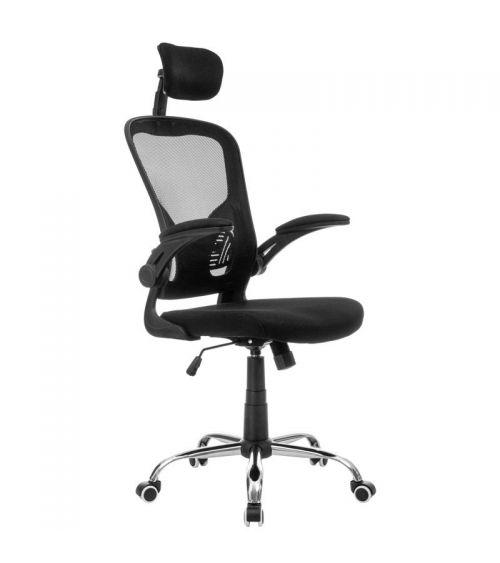 Ergonomiczne krzesło biurowe ze składanymi podłokietnikami.