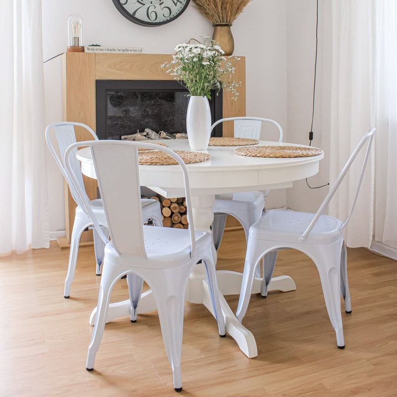 Krzesła do jadalni - krzesła metalowe w kolorze białym